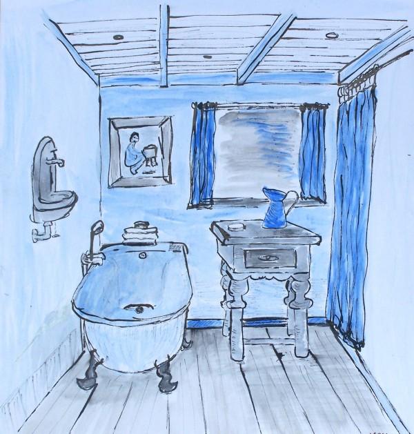 Ouderwetse badkamer u00b7 Acryl u00b7 Marjon de Jong