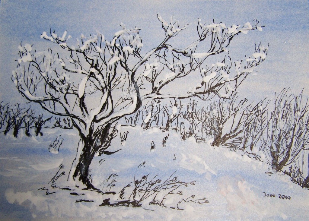 Winterlandschapjes Tekeningen Marjon De Jong